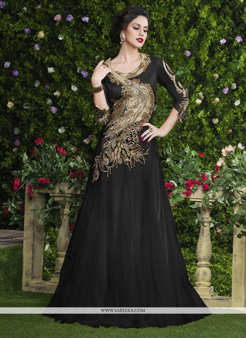 Black Net Designer Gown -