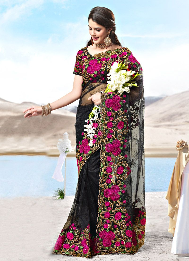 Black Net Resham Work Saree