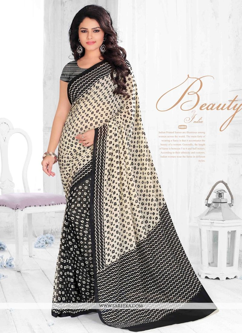 Black Print Work Georgette Casual Saree
