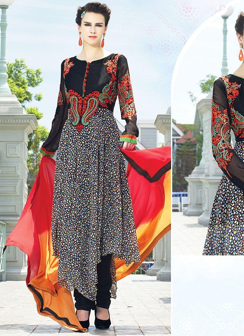 Black Printed Faux Georgette Net Anarkali Suit