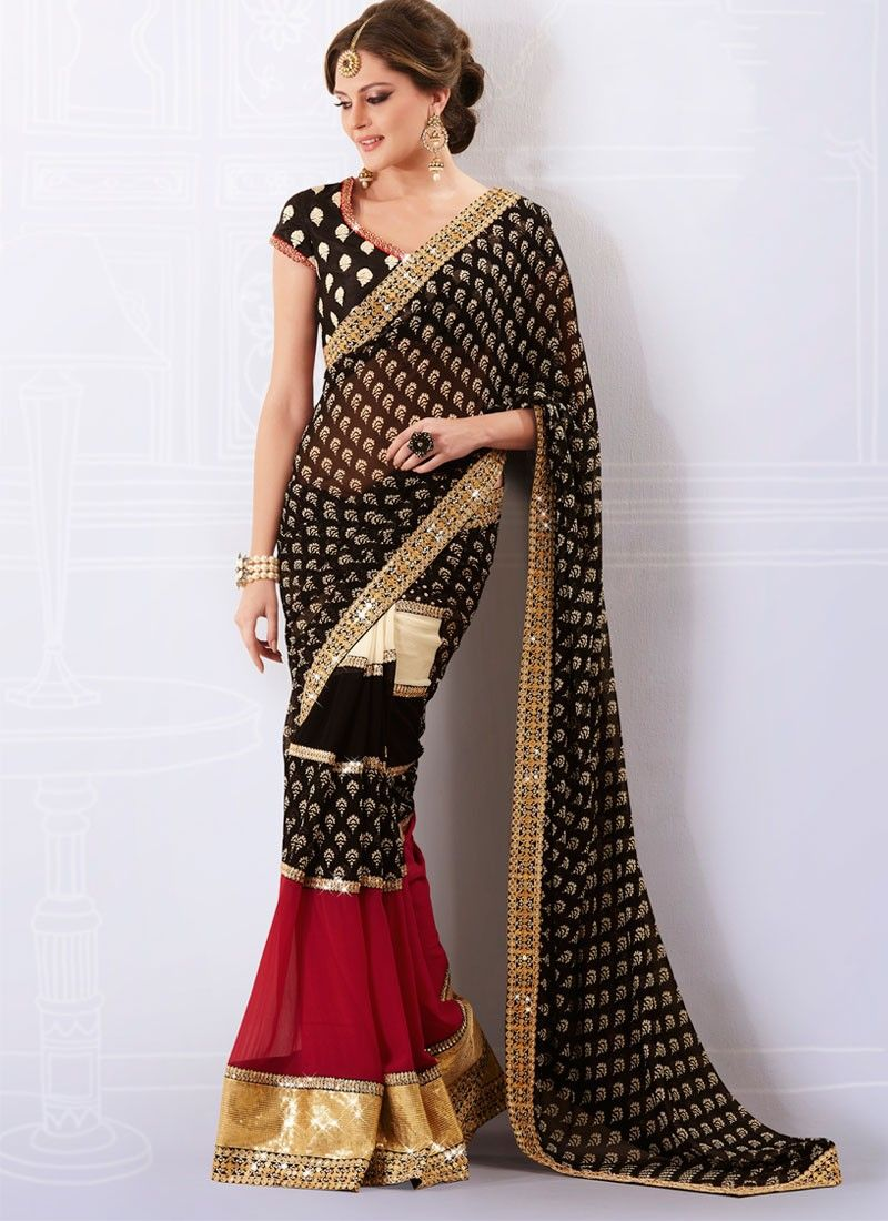 Black Printed Faux Georgette Saree