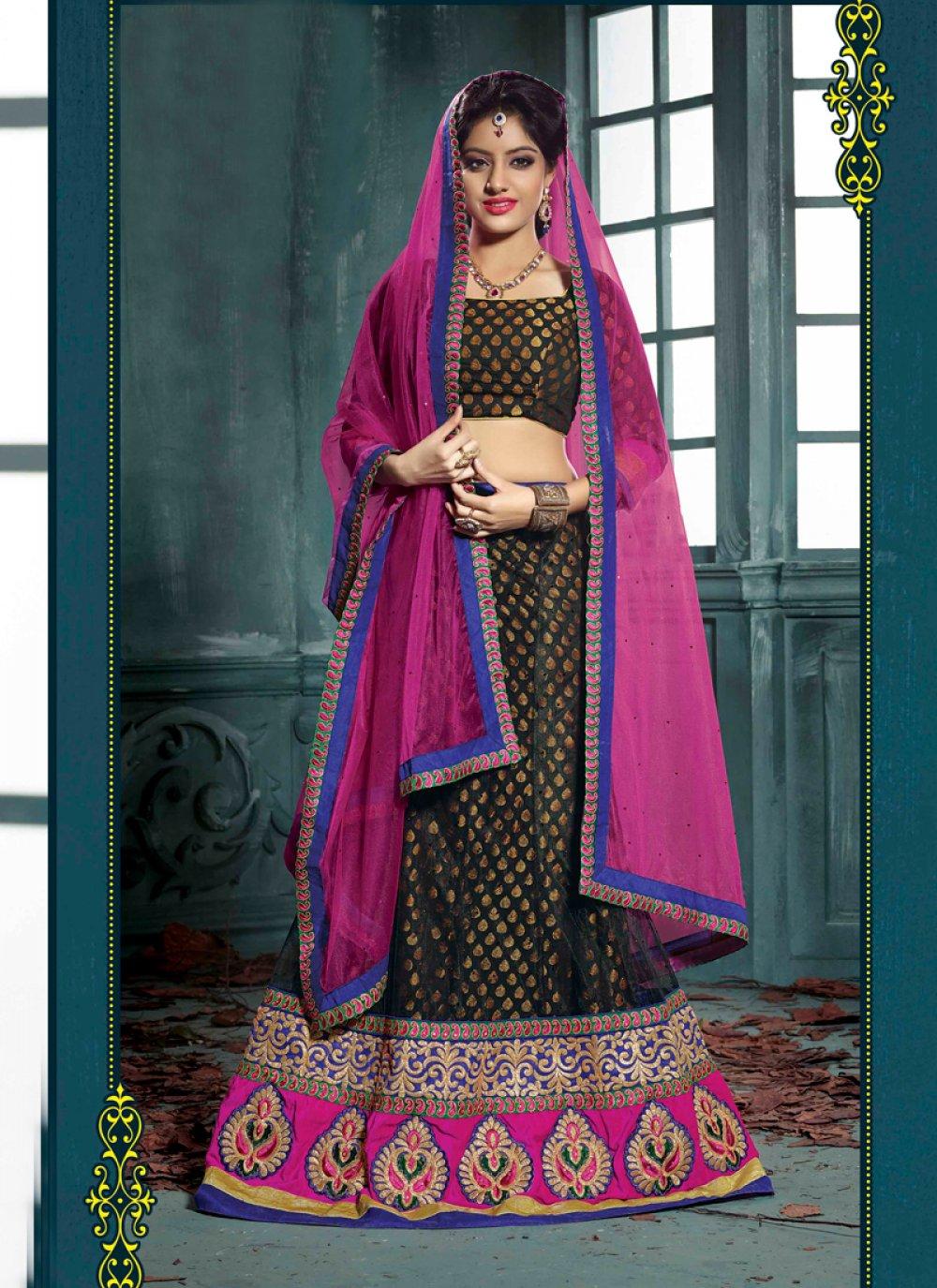 Deepika Singh Black Pure Georgette Wedding Lehenga Choli