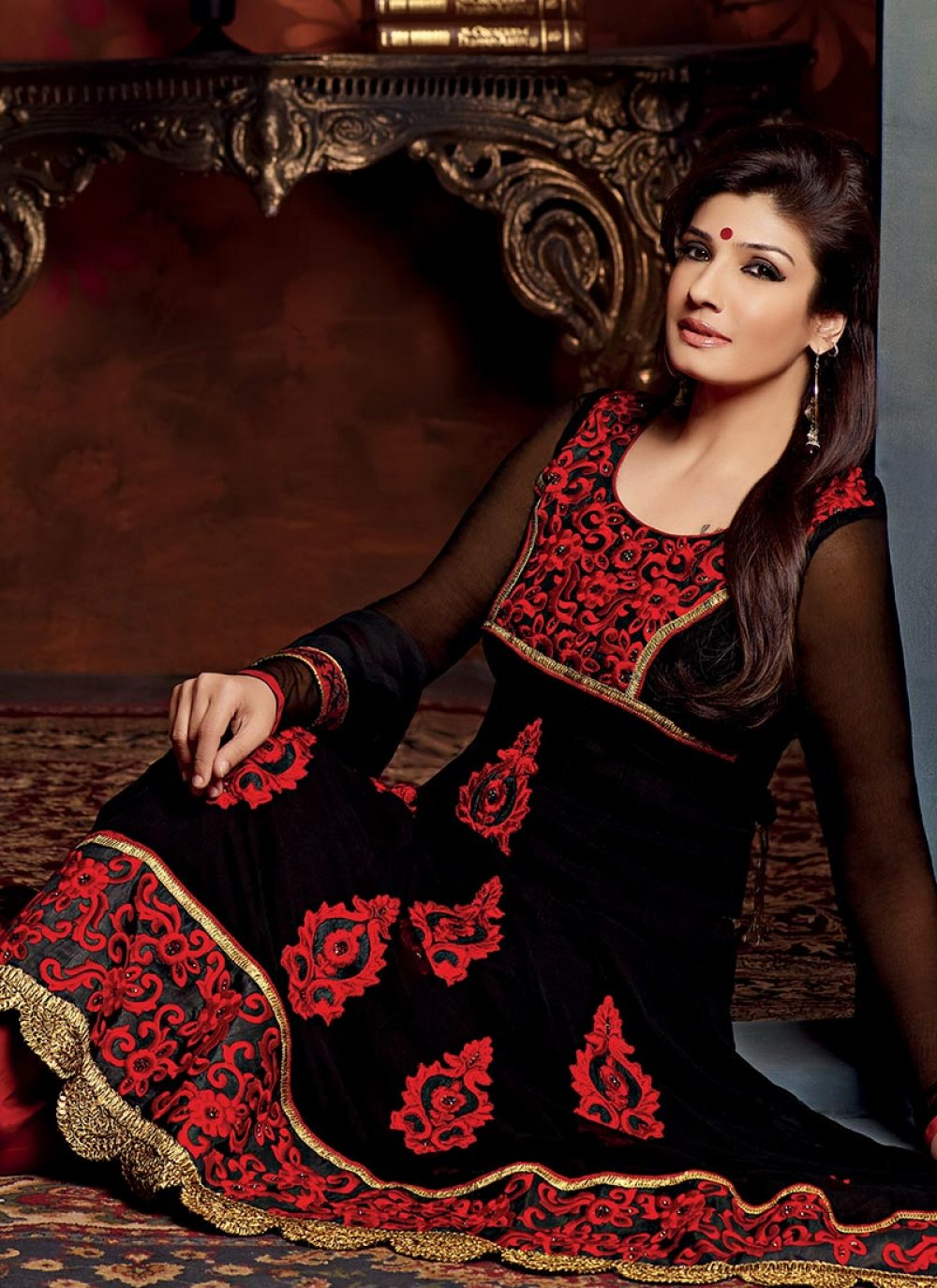 Black Resham Embroidered Churidar Suit