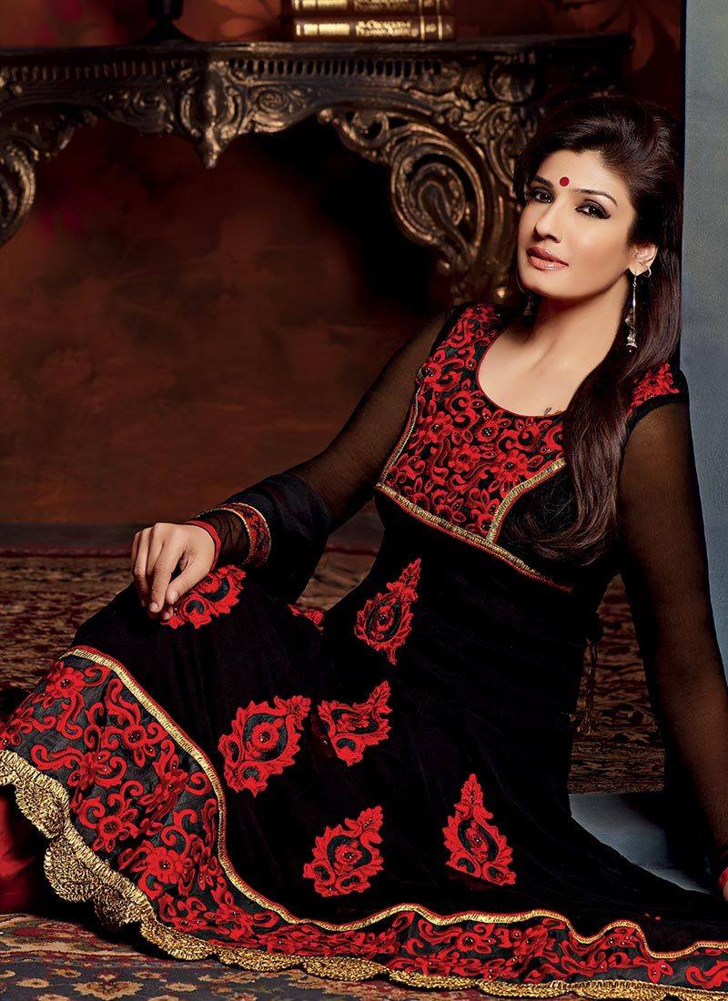 Black Resham Embroidered Churidar Suit