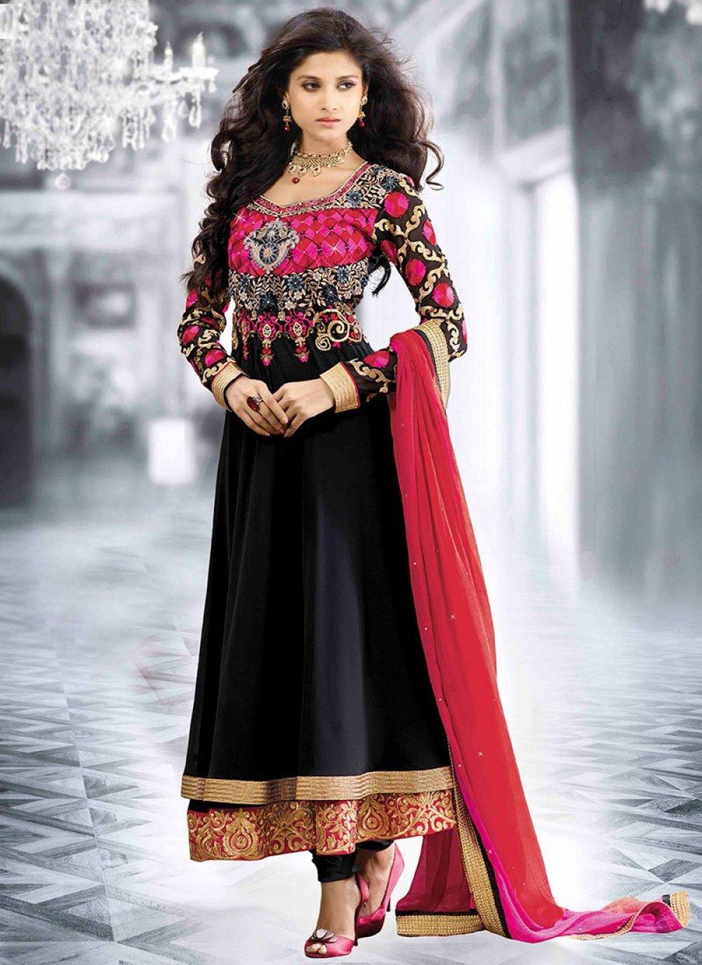 Black Resham Work Faux Georgette Anarkali Salwar Kameez
