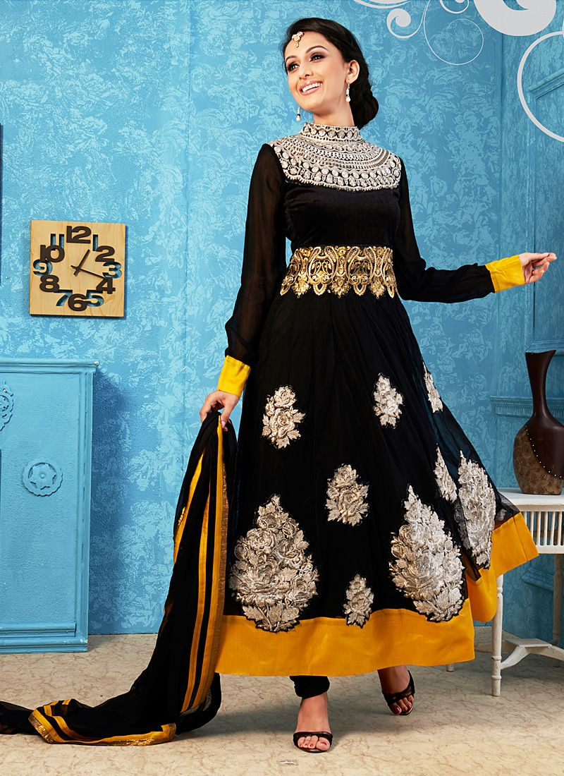 Black Resham Work Faux Georgette Anarkali Suit