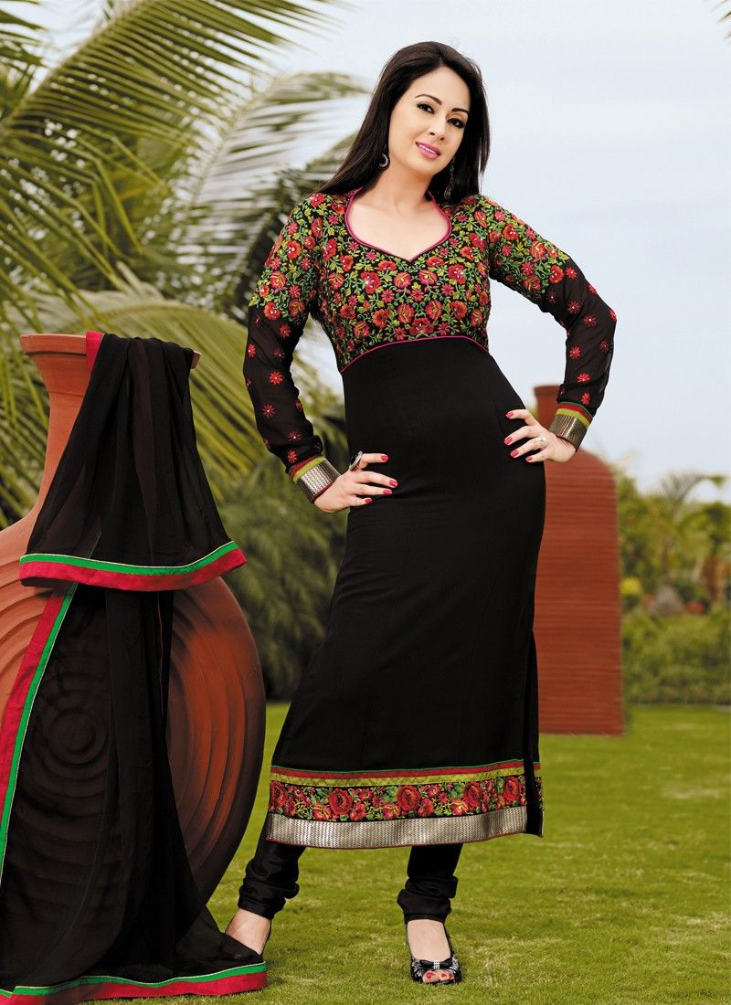 Black Resham Work Faux Georgette Churidar Salwar Kameez