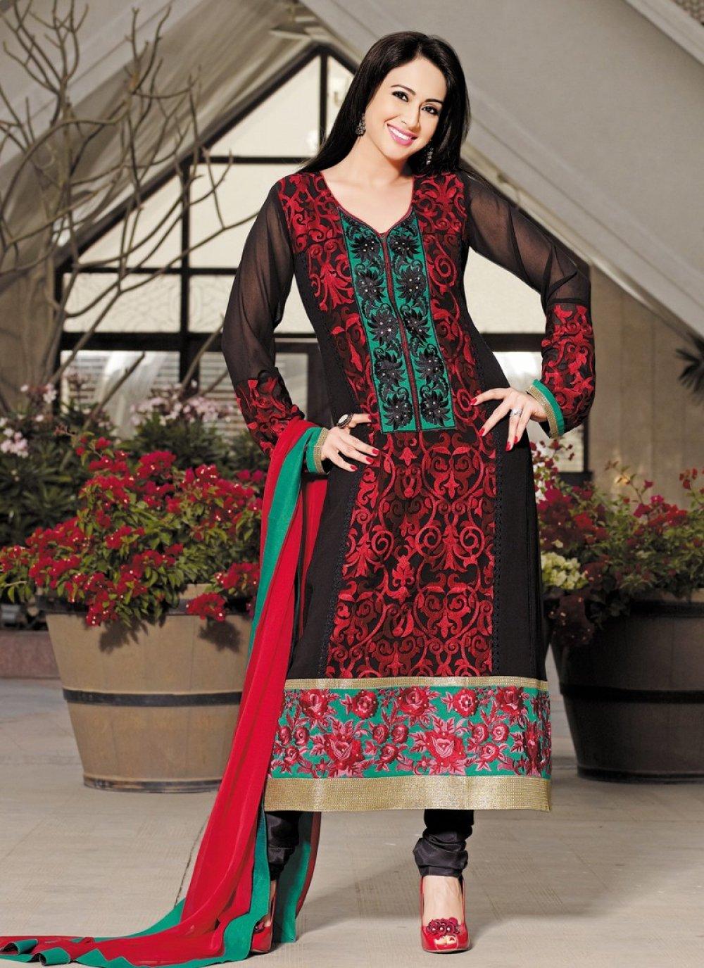 Black Resham Work Georgette Churidar Salwar Suit
