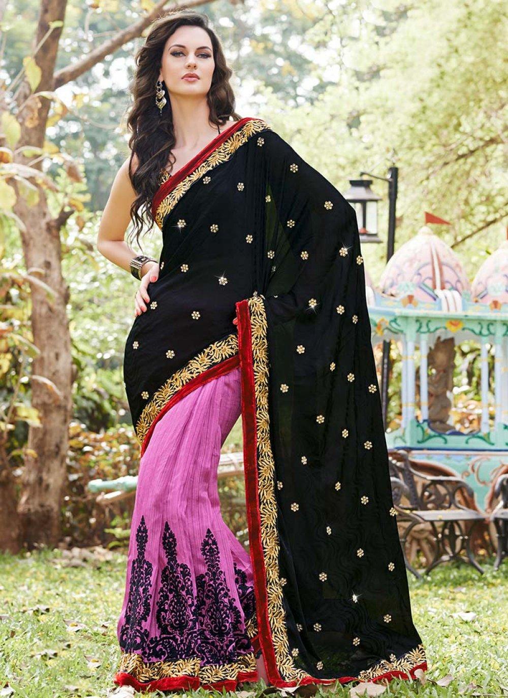 Black Satin Jacquard Embroidered Saree