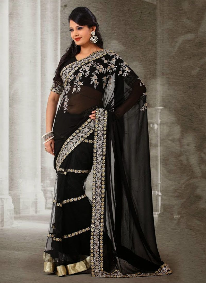 Black Stone Work Net And Faux Georgette Half And Half Saree