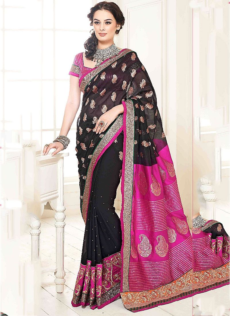 Black Zari Work Faux Georgette Designer Saree