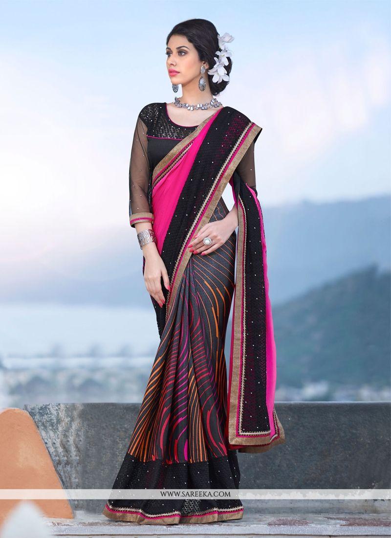 Black and Pink Georgette Designer Saree