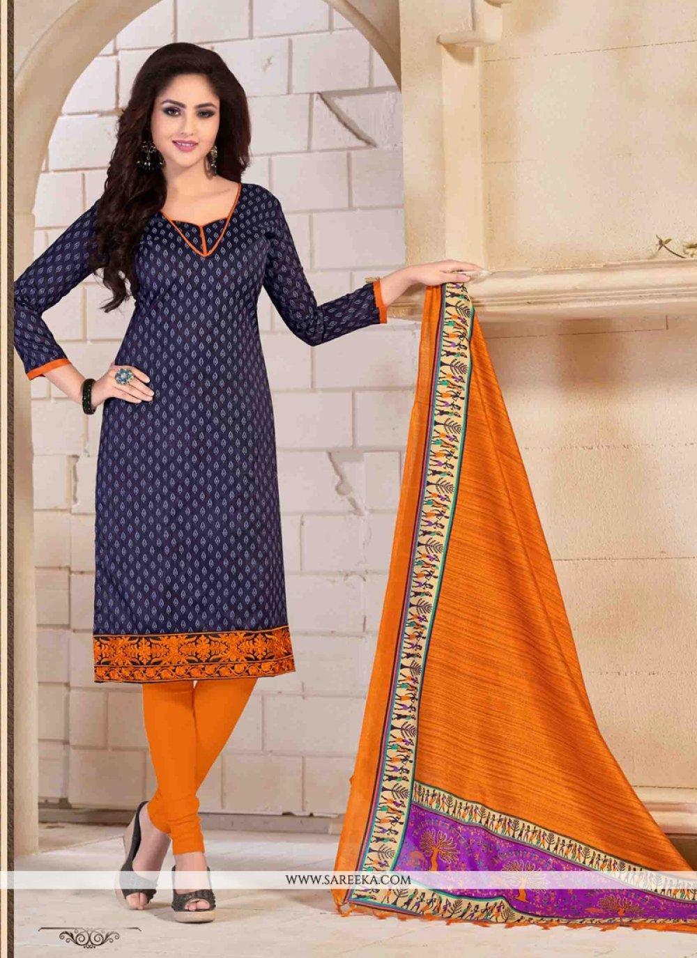 Blue Print Work Churidar Salwar Suit