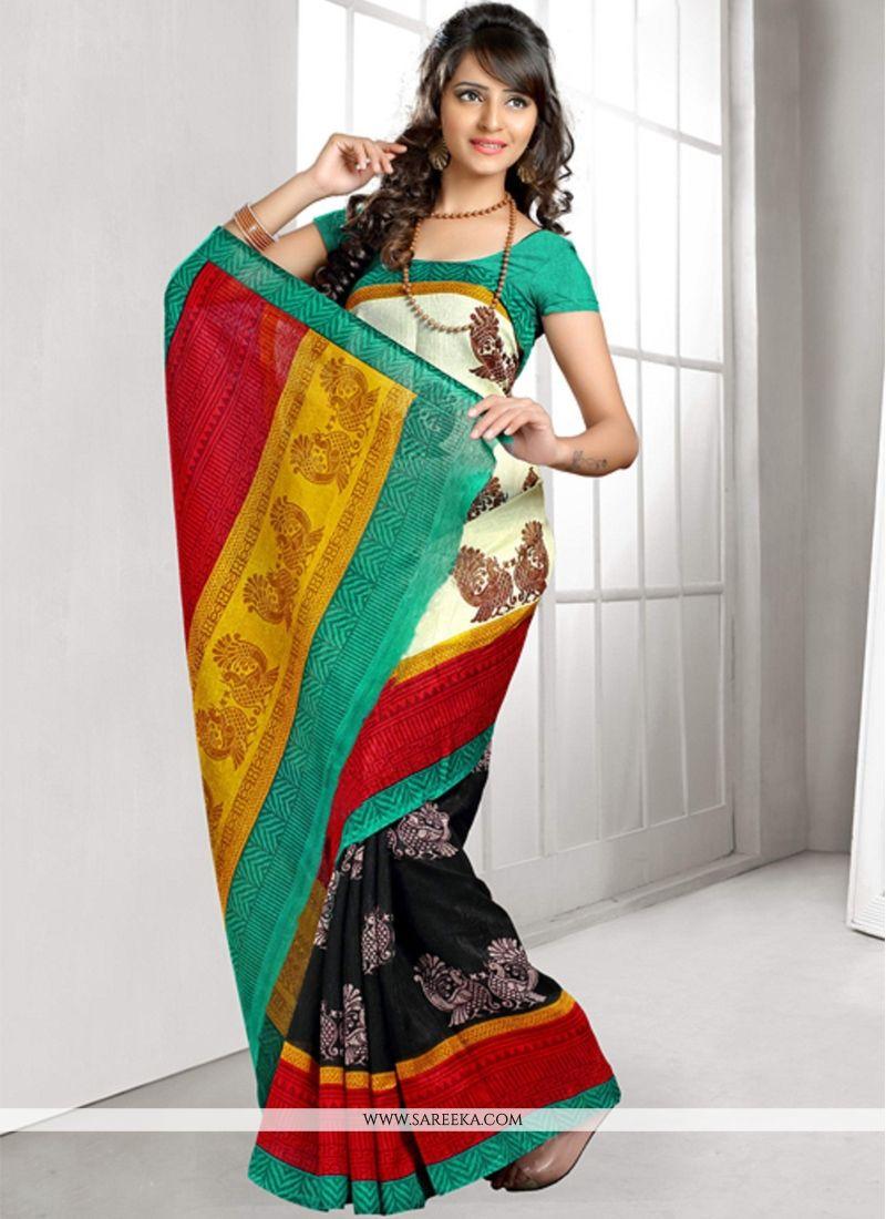 Cream and Black Lace Work Bhagalpuri Silk Casual Saree