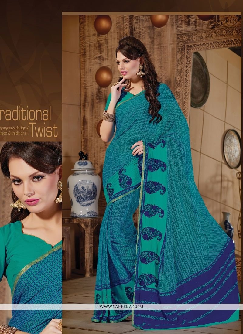 Embroidered Work Blue Designer Saree