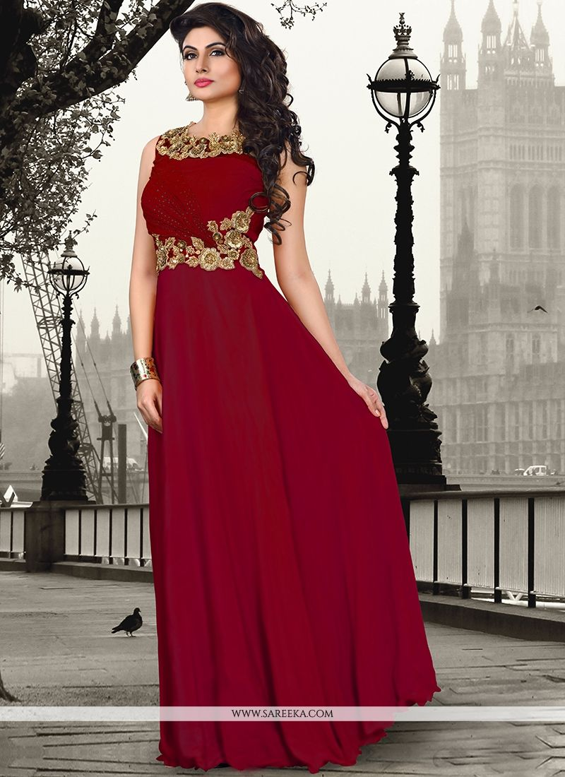Maroon Pure Crepe Floor Length Gown