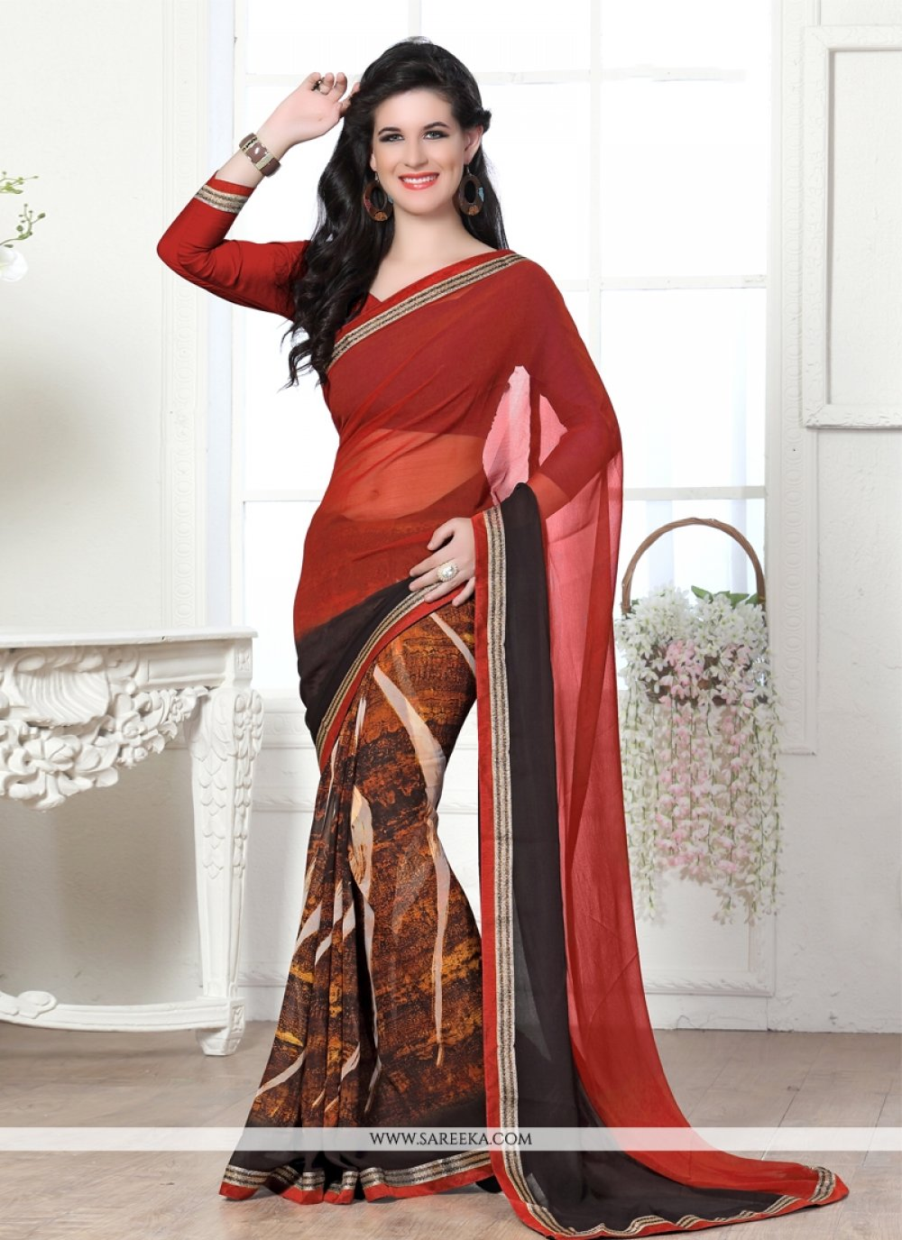 Red Lace Work Casual Saree
