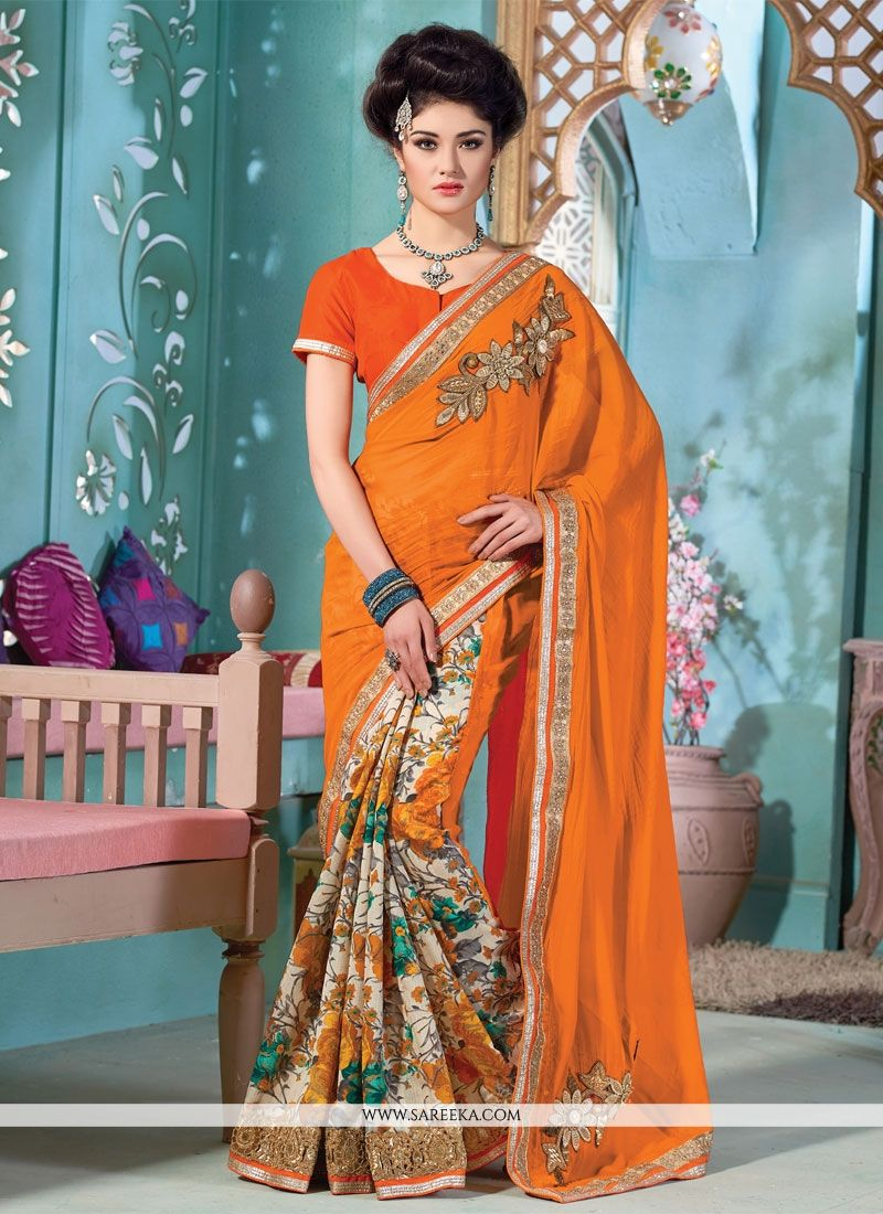Viscose Print Work Designer Saree