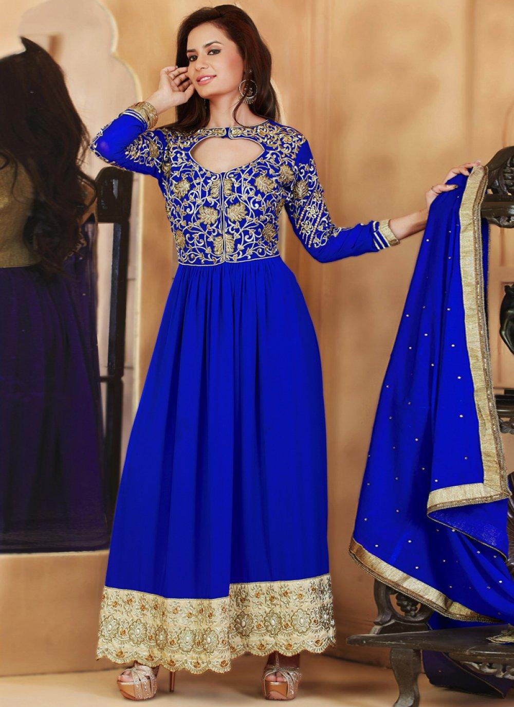 Blue Faux Georgette Anarkali Suit