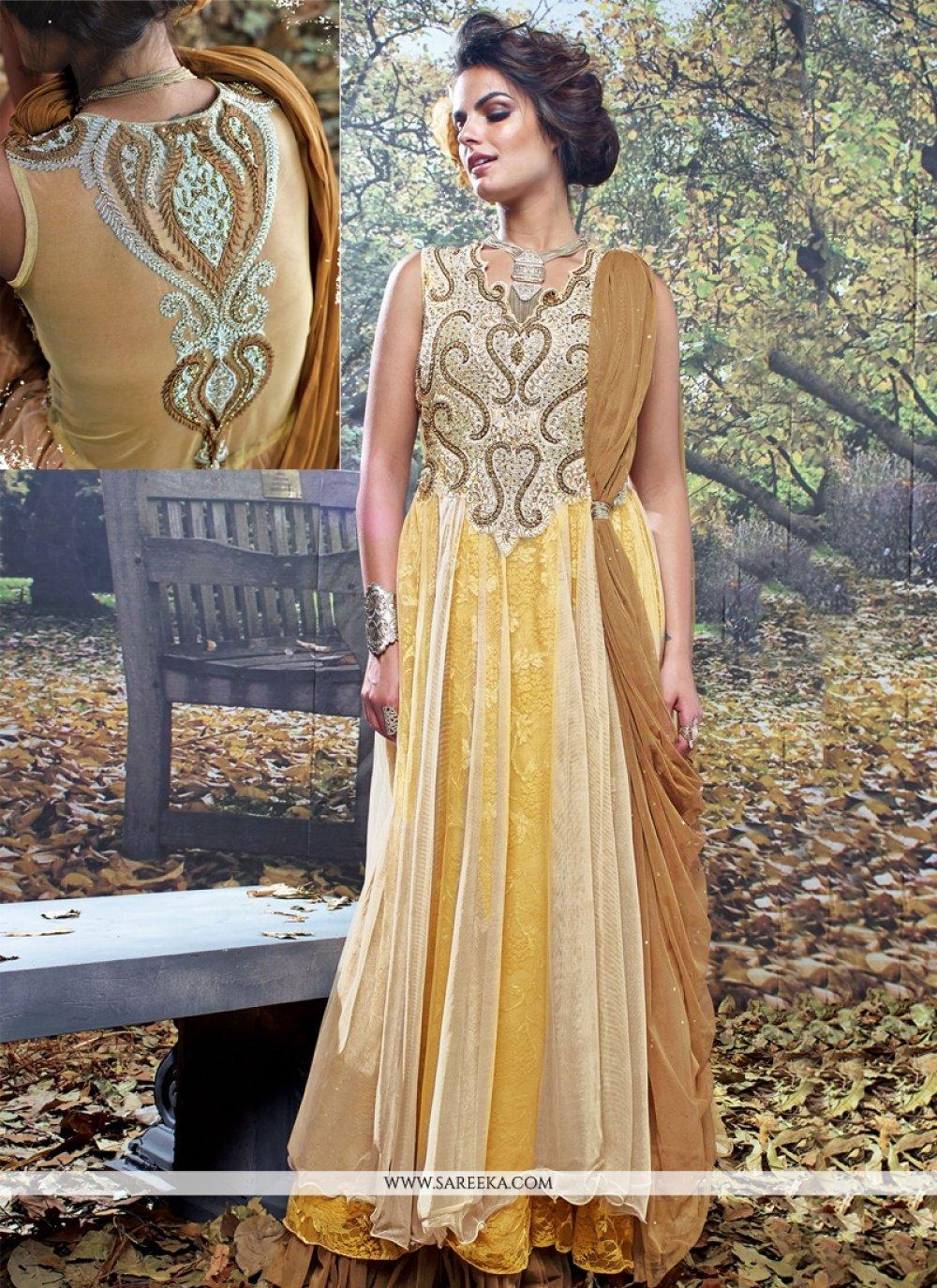 Cream and Brown Net Brasso Designer Gown