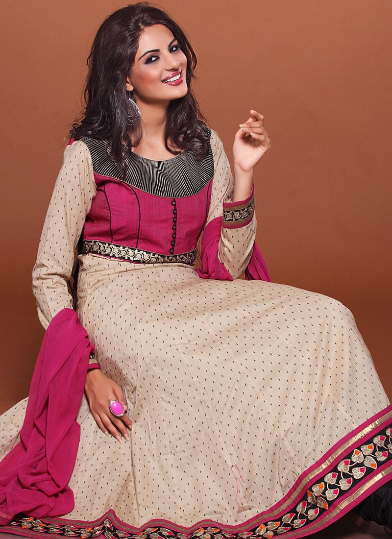 Cream And Pink Embroidery Work Anarkali Suit