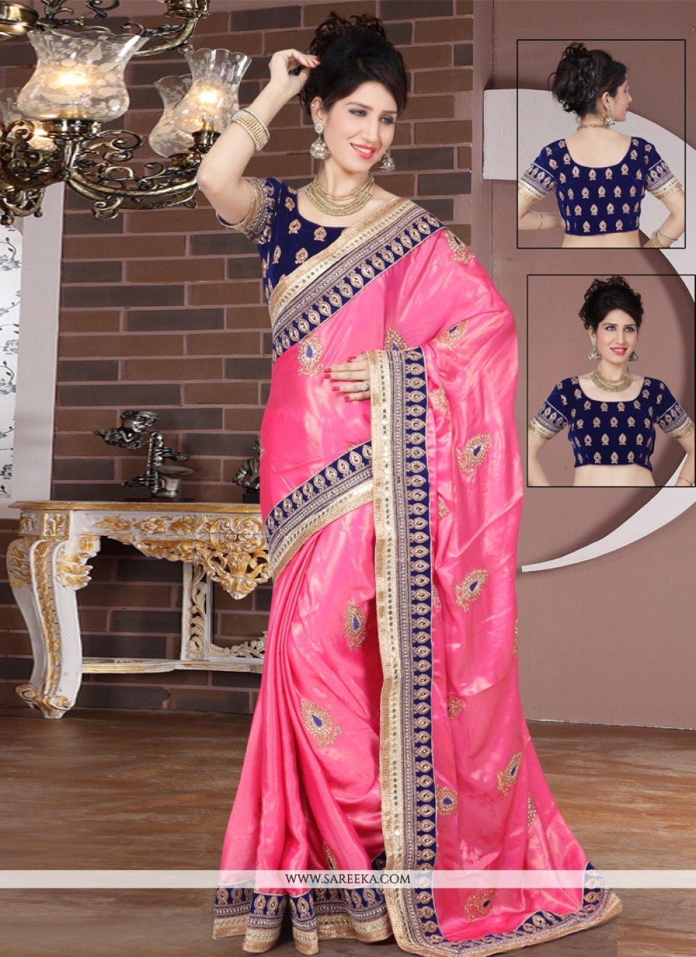 Embroidered Work Hot Pink Designer Saree