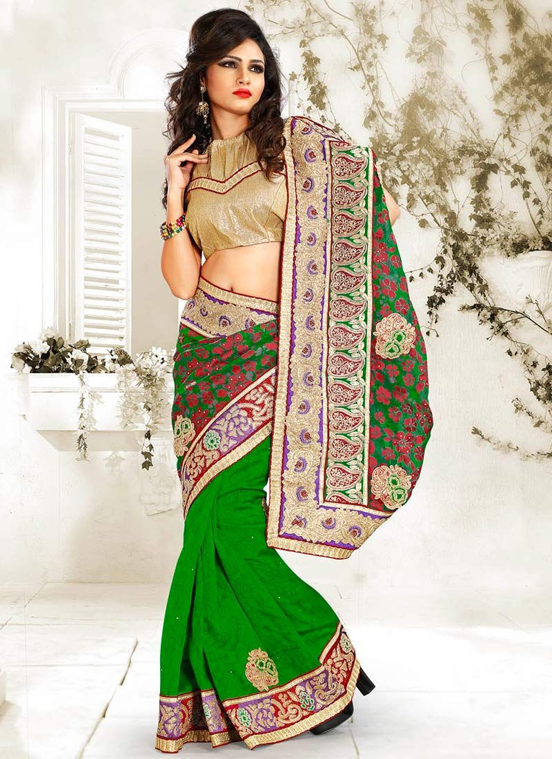 Green Bhagalpuri Silk Half And Half Saree