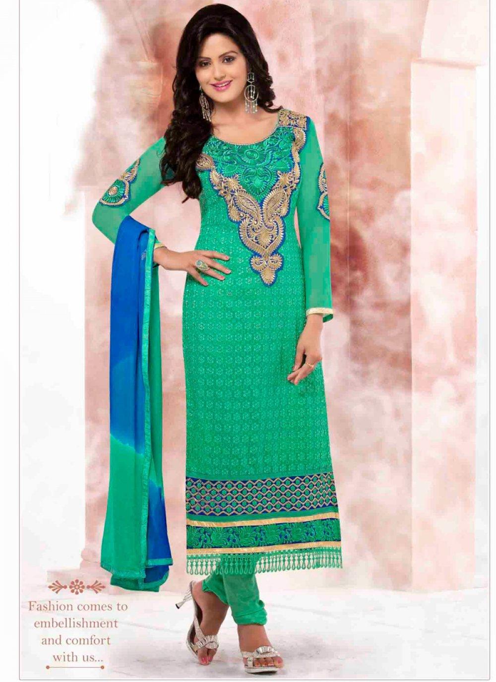 Green Georgette Churidar Salwar Suit