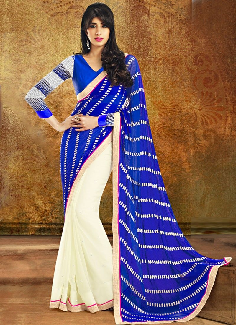 Blue And Beige Color Printed Border Half And Half Saree