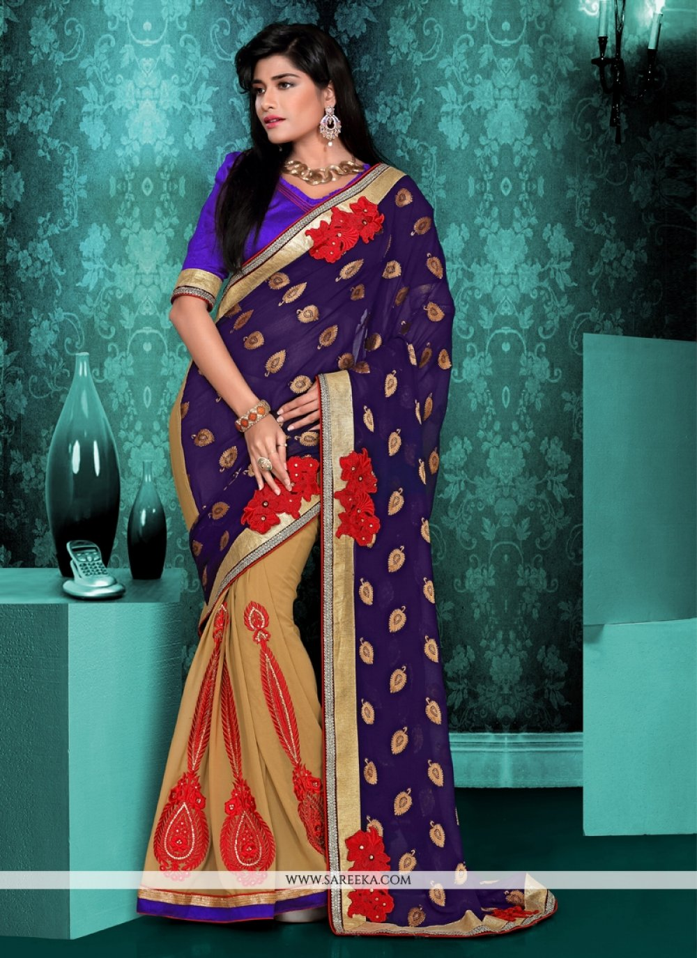 Blue And Beige Viscose And Georgette Saree