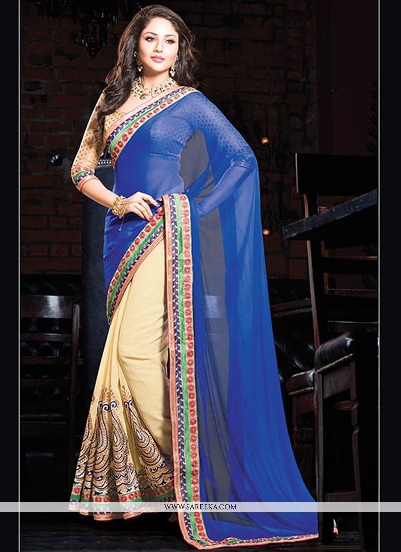 Blue And Cream Cotton Designer Saree