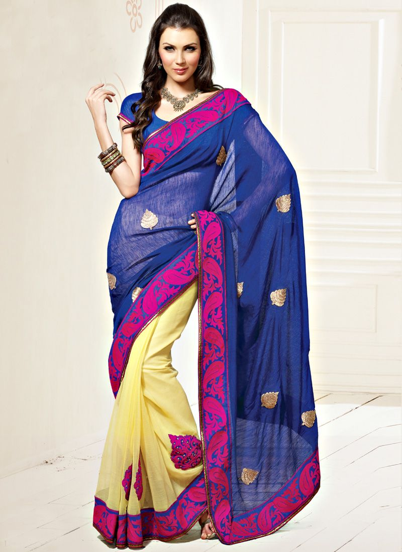 Blue and Cream Faux Chiffon Saree