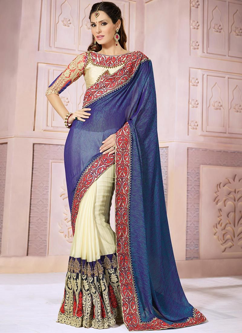 Blue And Cream Jacquard Designer Saree