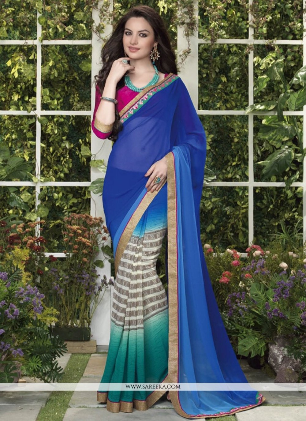 Blue And Cream Less Georgette Casual Saree