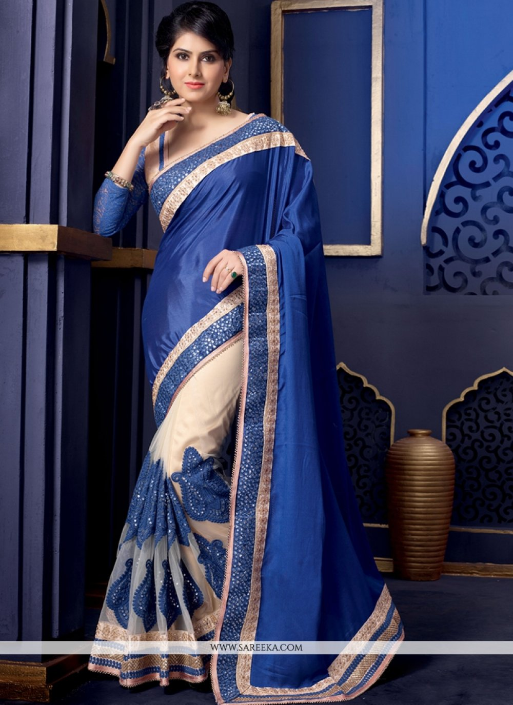 Blue And Cream Net And Crepe Designer Saree