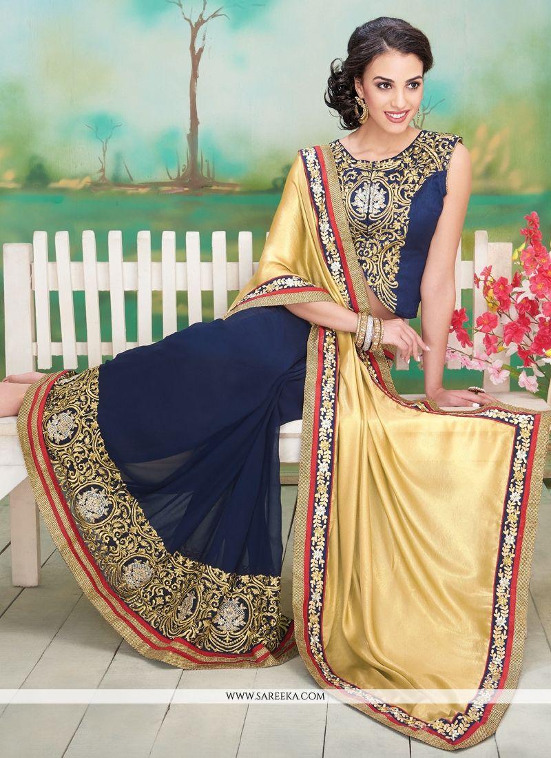 Blue and Cream Resham Work Georgette Designer Saree