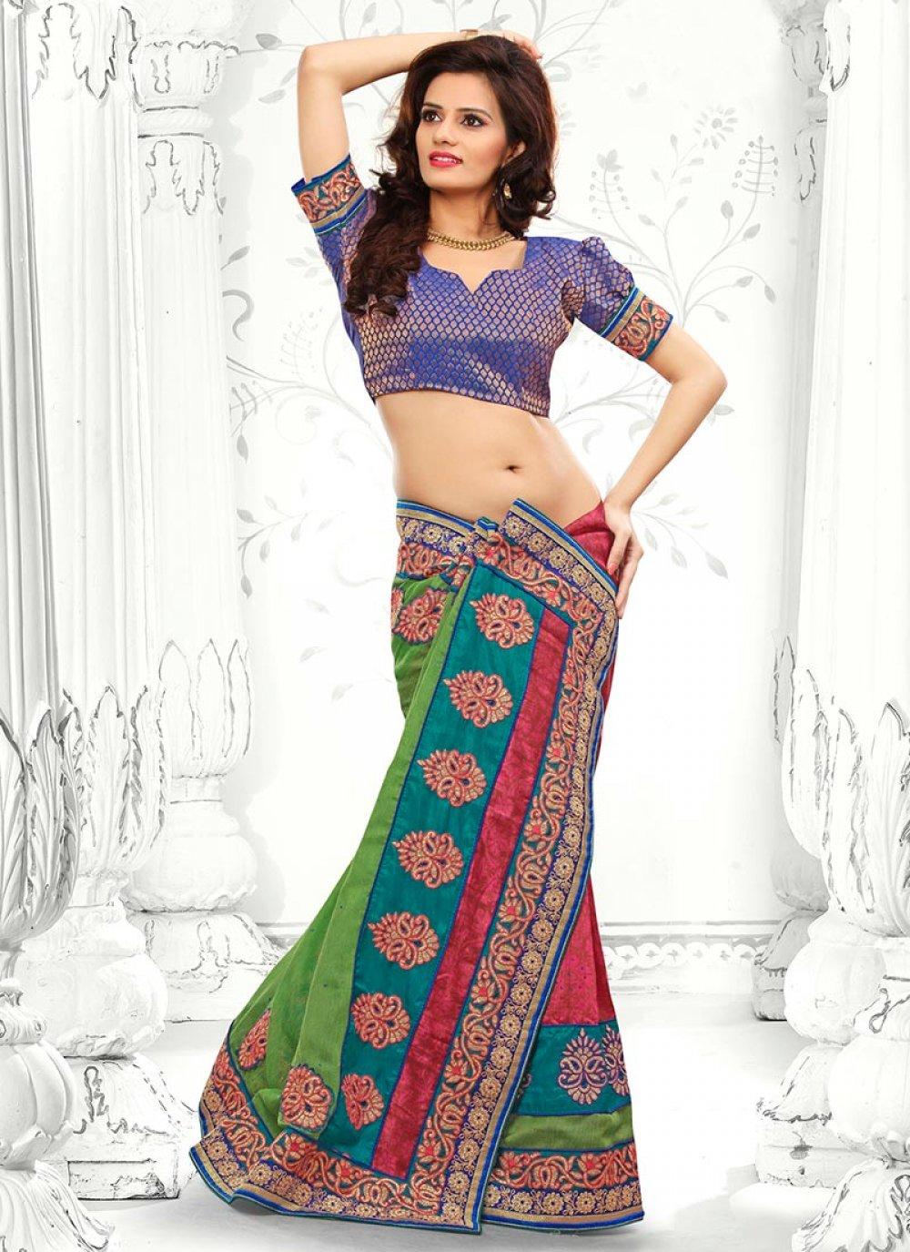 Blue And Green Bhagalpuri Silk Saree