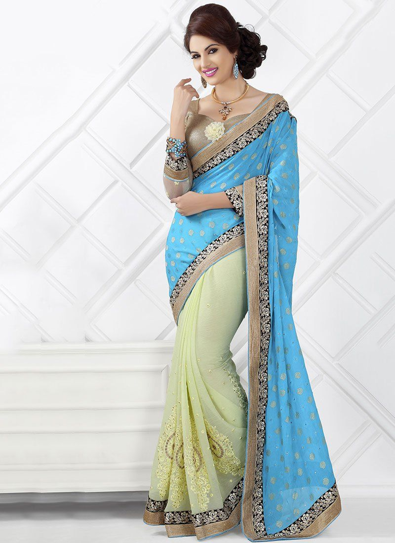 Blue And Green Chiffon Designer Saree