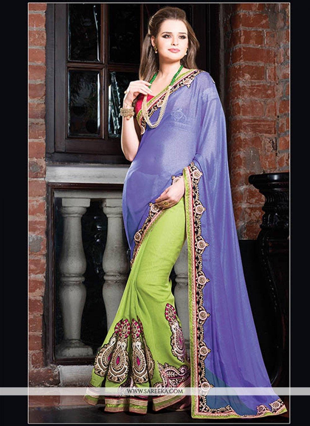 Blue And Green Georgette Designer Saree