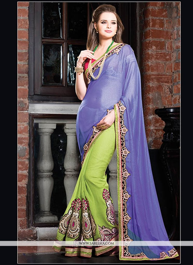 Blue And Green Georgette Designer Saree