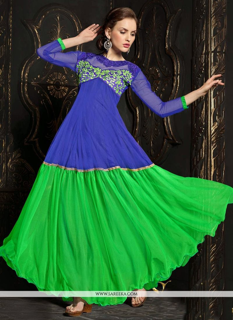 Blue And Green Net Anarkali Salwar Suit