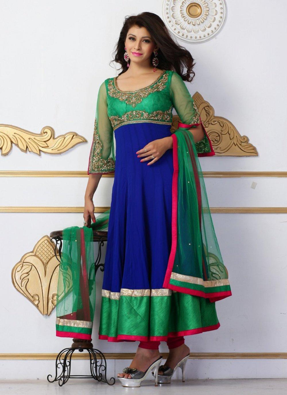 Blue And Green Zari Work Net Anarkali Suit