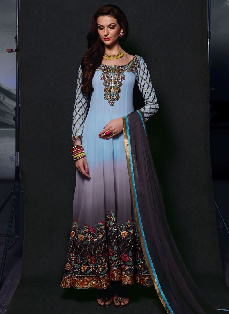 Blue And Grey Shaded Georgette Anarkali Suit
