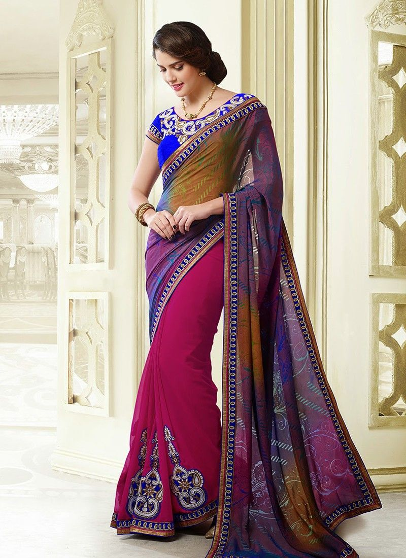 Blue And Magenta Embroidery Work Faux Georgette Saree
