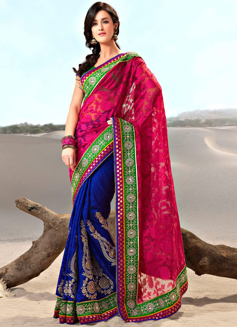 Blue and Magenta Faux Georgette and Jacquard Saree