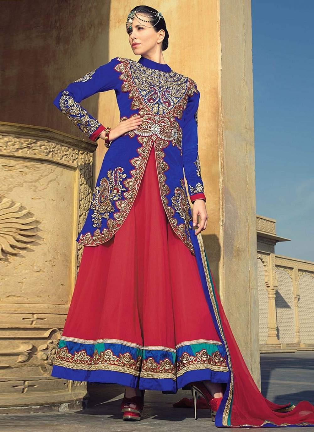 Blue And Maroon Embroidery Velvet Anarkali Suit