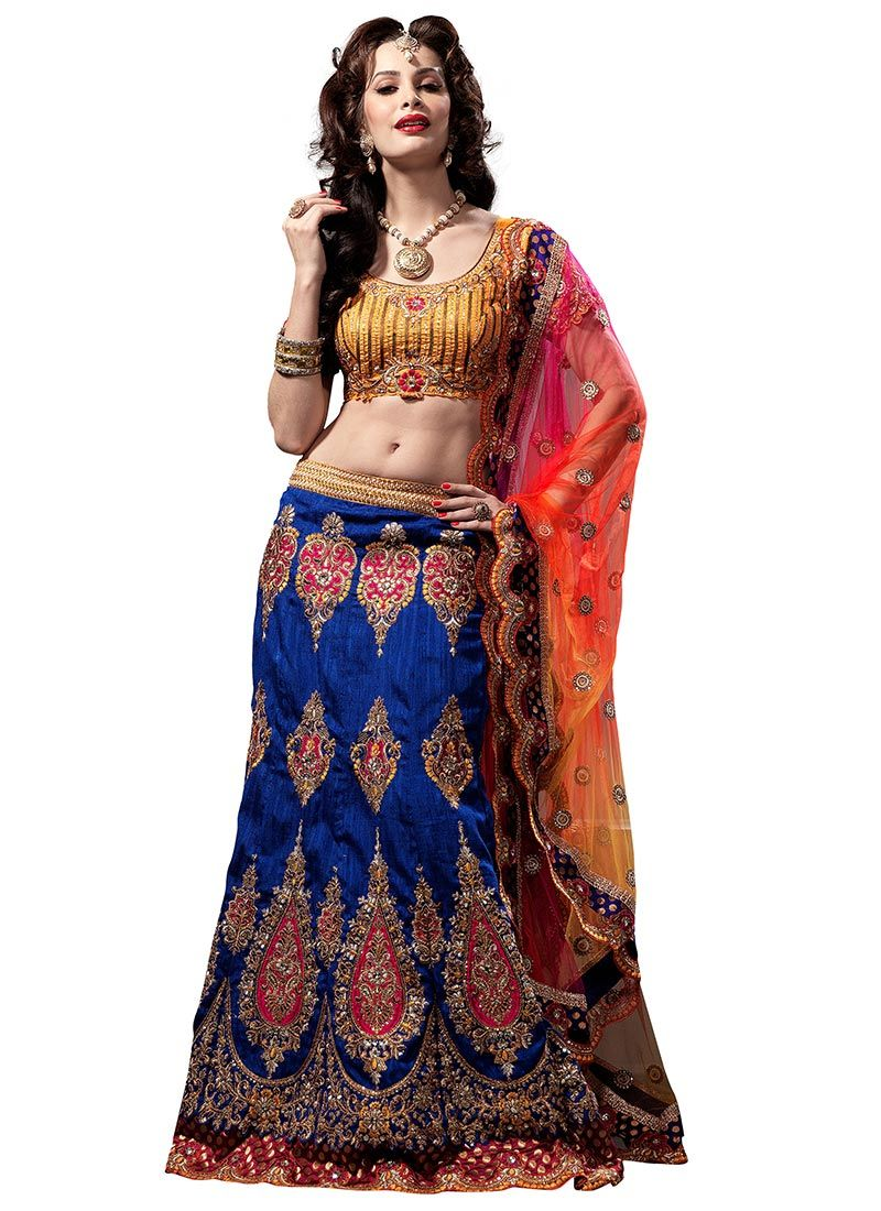 Blue and Mustard Art Raw Silk Flared Lehenga Choli