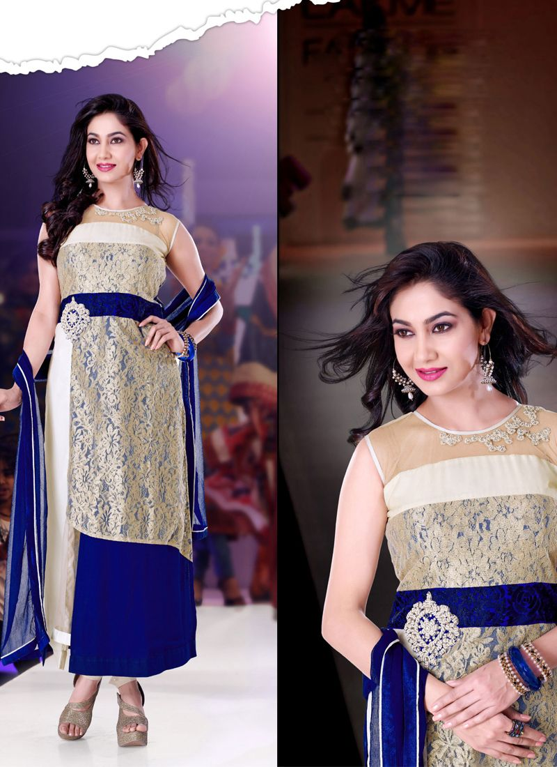 Blue And Off White Georgette Anarkali Suit