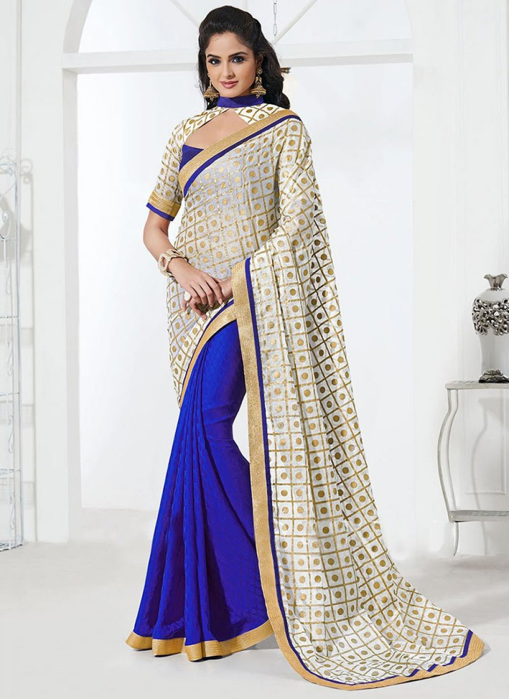 Blue And Off White Silk Half And Half Saree