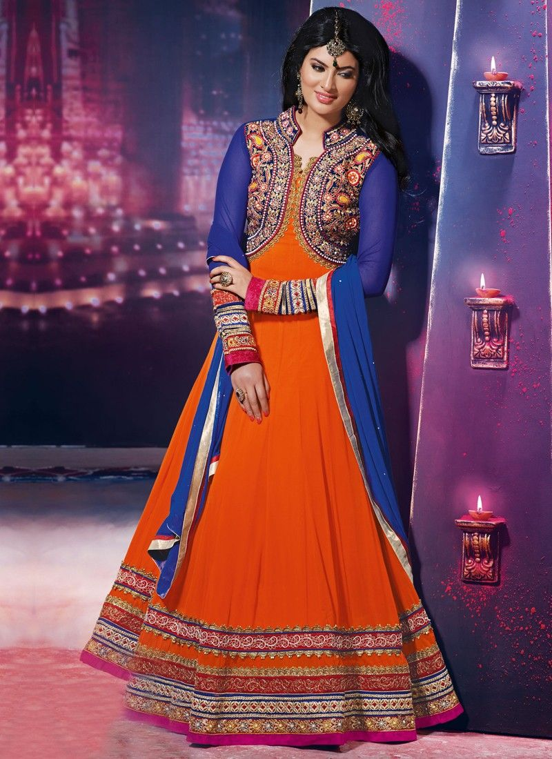Blue And Orange Embroidery Work Georgette Anarkali Suit